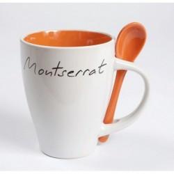Taza blanca Montserrat con interior y cuchara color naranja