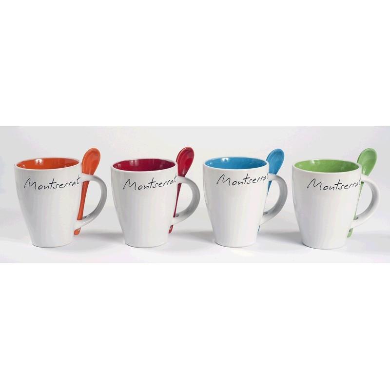 Montserrat white mug with orange inside and spoon