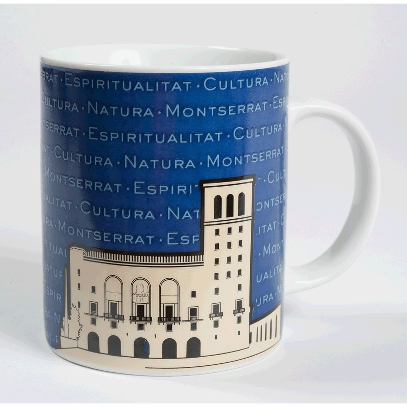 Montserrat Basilica Mug, navy blue colour