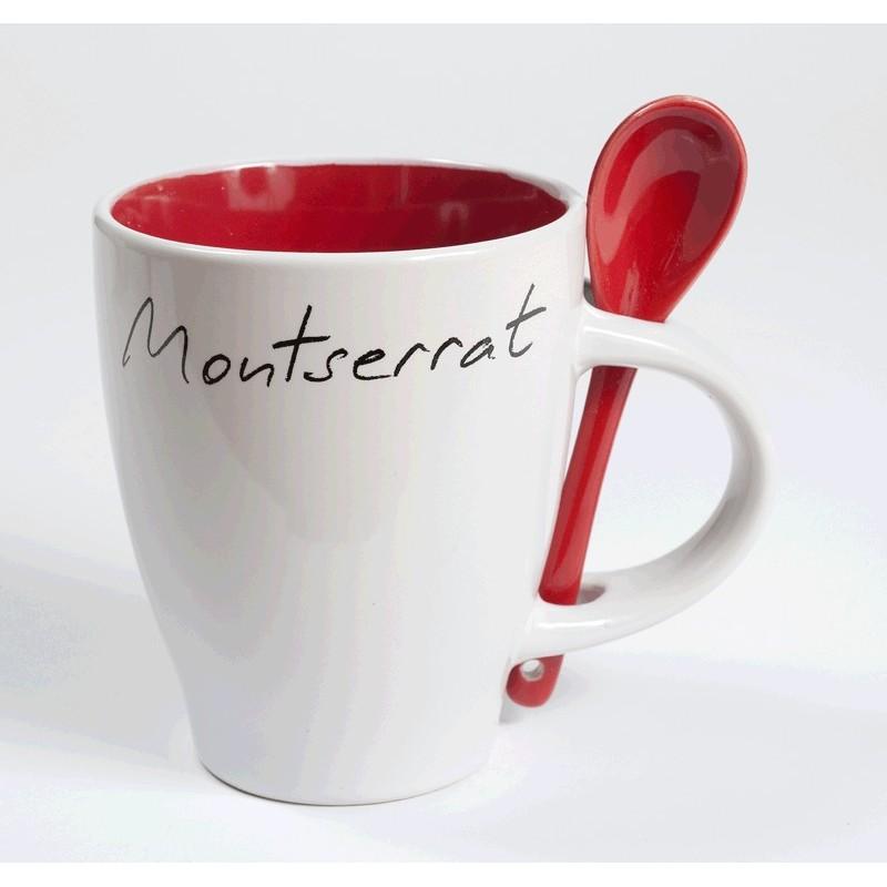 Tassa blanca Montserrat amb interior i cullera color vermell