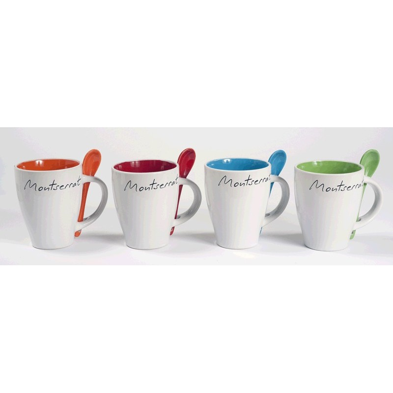 Montserrat white mug with red inside and spoon