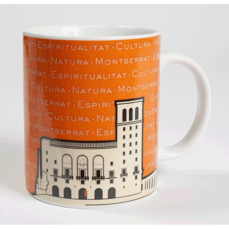 Montserrat Basilica Mug, orange colour
