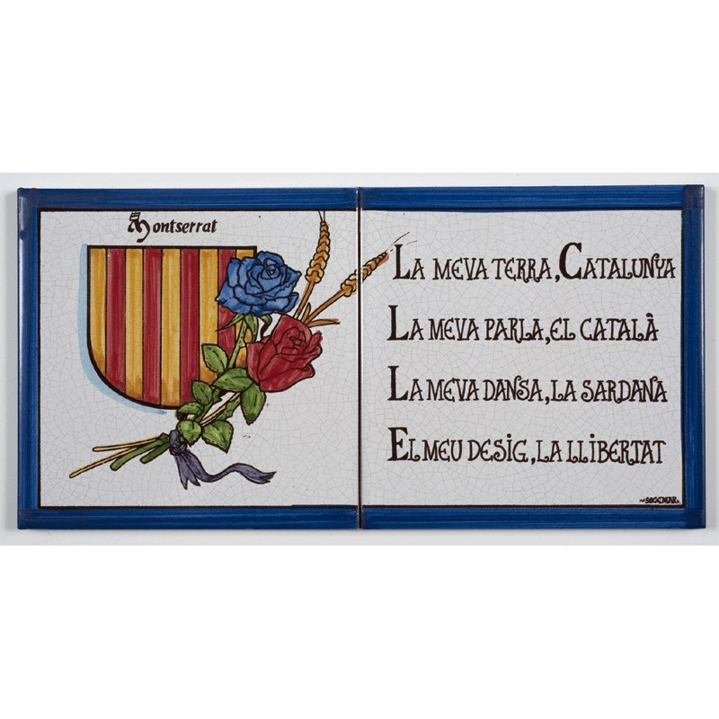 Baldosa Escudo de Cataluña con poema