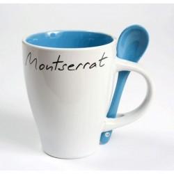 Tassa blanca Montserrat amb interior i cullera color blau