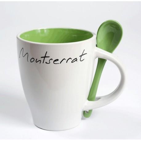 Tassa blanca Montserrat amb interior i cullera color verd