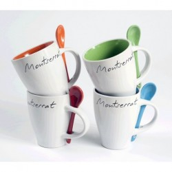 Montserrat white mug with orange inside and spoon