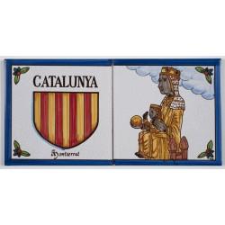 Baldosa Escudo de Cataluña y Virgen de Montserrat